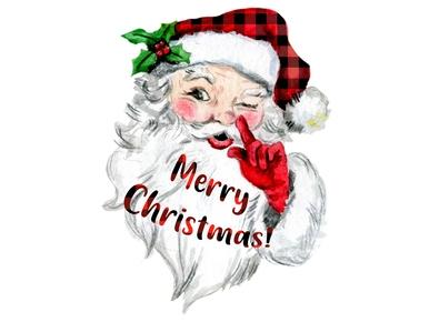 Santa Claus Red Plaid Digital Png Christmas Watercolor Digital Watercolor Watercolor Illustration