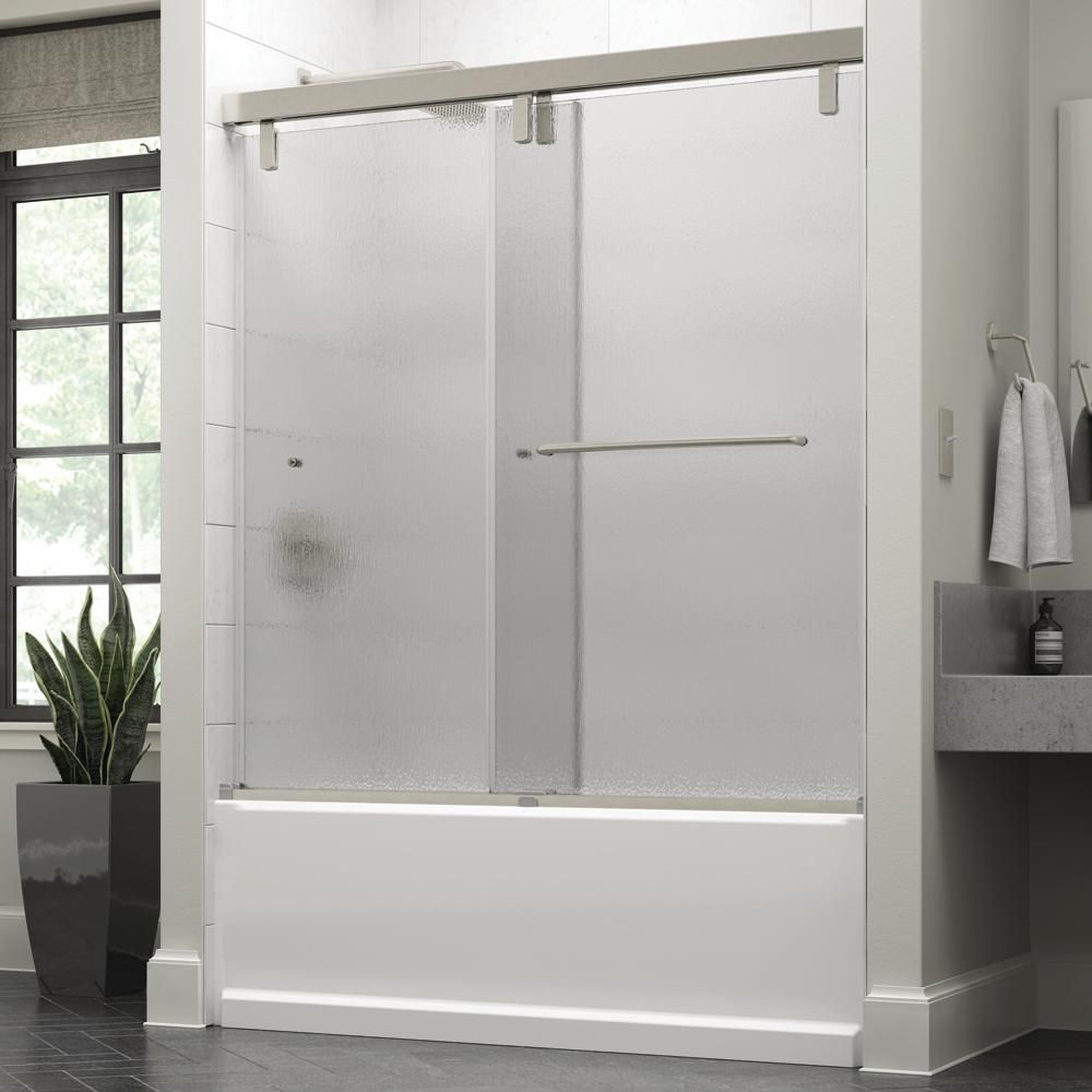 Delta Simplicity 60 X 59 1 4 In Frameless Mod Soft Close Sliding Bathtub Door In Nickel With 3 8 In 10mm Rain Glass Sd3443075 Bathtub Doors Tub Shower Doors Glass Shower Doors