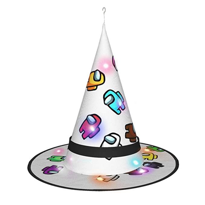 Amazon Com Jiaolun Crewmates Among Us Game Halloween Witch Hat With Lights Biden Balaclava Cosplay Or Party Decora Witch Hat Halloween Cosplay Childrens Gifts