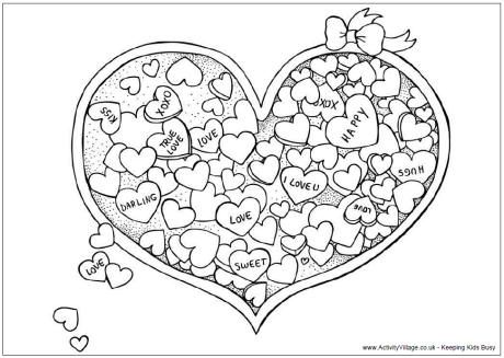 valentines day heart candy coloring page