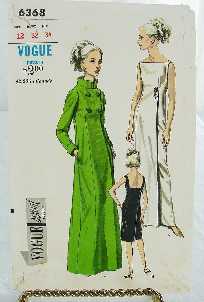60s vogue VSD 6368 Elegant Mod Evening Dress amp; Coat 1965 60s sleek amp; elegant mod 60s design has an Audrey Hepburn vibe amp; consists of a sleeveless evening dress in long or short lengths with low square back amp; a long evening coat with empire waist and standup collar.complete printed in very good gently used Sz12/32/25/34 sld 31+2.77 5bds 6/517