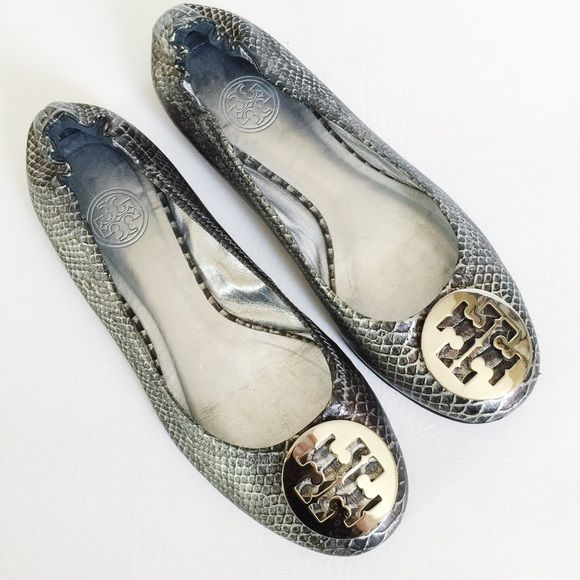 a222ef23158289 SALE ▫ Tory Burch Python Embossed Reva Flats Tory Burch Python Embossed Reva  Flats in silver metallic animal print and silver hardware.