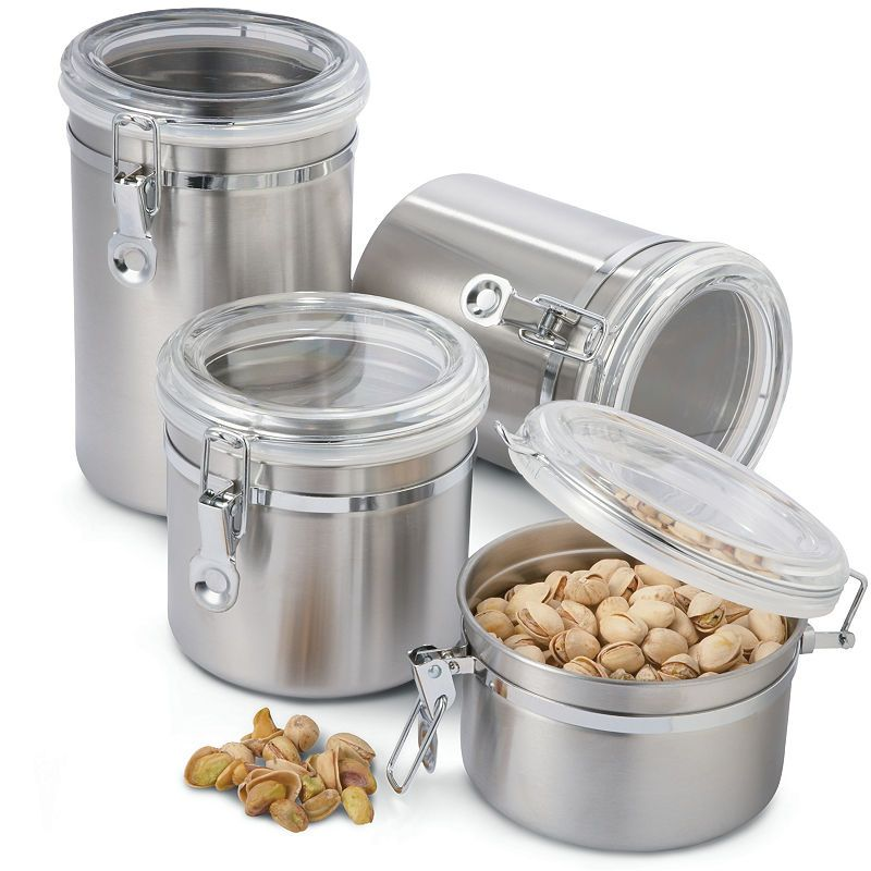OGGI™ 4-pc. Stainless Steel Canister Set on chairs for kitchen counter, elegant canister counter, decorating ideas kitchen counter, glass canister counter, wine racks for kitchen counter, candy and nut counter, accessory ideas contemporary kitchen counter, red canisters for kitchen counter, apple canisters for kitchen counter, canister sunflower kitchen decor catalog, country canisters for kitchen counter, canister with handle,
