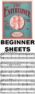 Free pdf of a beginner version of The Entertainer by Scott Joplin. For 1st year players. http://mypianosmiles.com/2014/01/the-entertainer-beginner-sheets/
