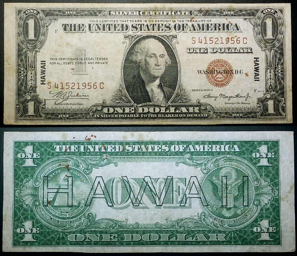 Us Series Of 1935 A Silver Certificate Hawaii Emergency Note
