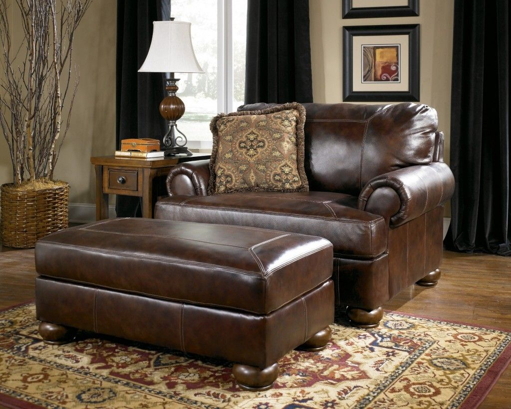 Leather Living Room Chair With Ottoman Ll Bean Bag Couches Ashley 39s Axiom