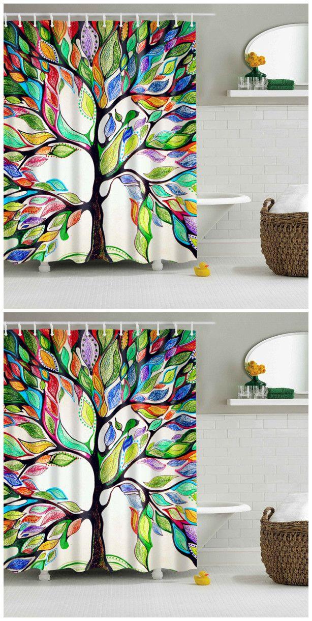 Colorful Tree Of Life Print Waterproof Shower Curtain Decoracion