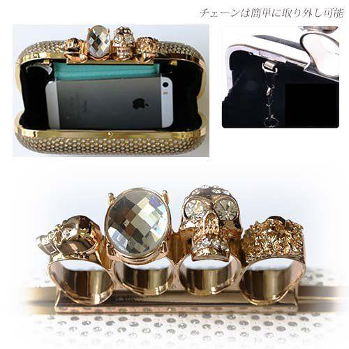 Amazon.co.jp: 【スカル×ストーン柄 クラッチバッグ】指輪/ドクロ/パーティーバッグ/スカル/取ってが指輪/カラー/クラッチ (ゴールド): シューズ&バッグ:通販