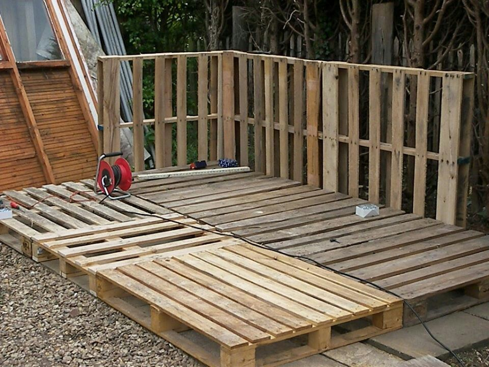 The base of our pallet shed | Pallet shed, Pallet building ...