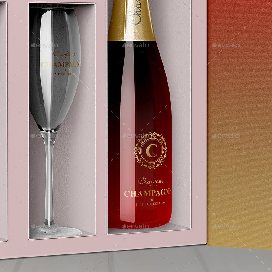 Champagne Box Packaging Mockup Champagne Box Packaging Mockup Box Packaging