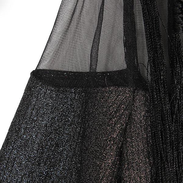 Metallic Overlay Long Sleeved Dress