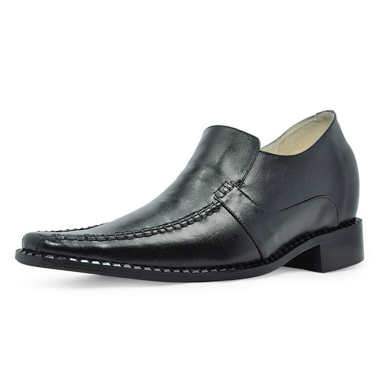 Black elevated shoe 8cm / with the SKU:MENJGL_6133 - Black Tapered Toe Rubber Cowhide…