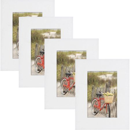Mainstays Museum 4 inch x 6 inch Picture Frame, White, Set of 4