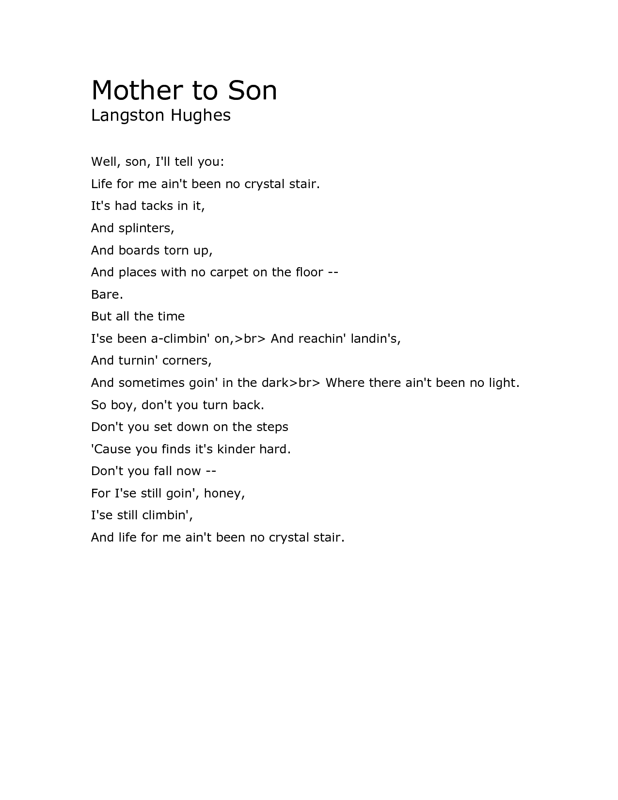 essay on langston hughes harlem
