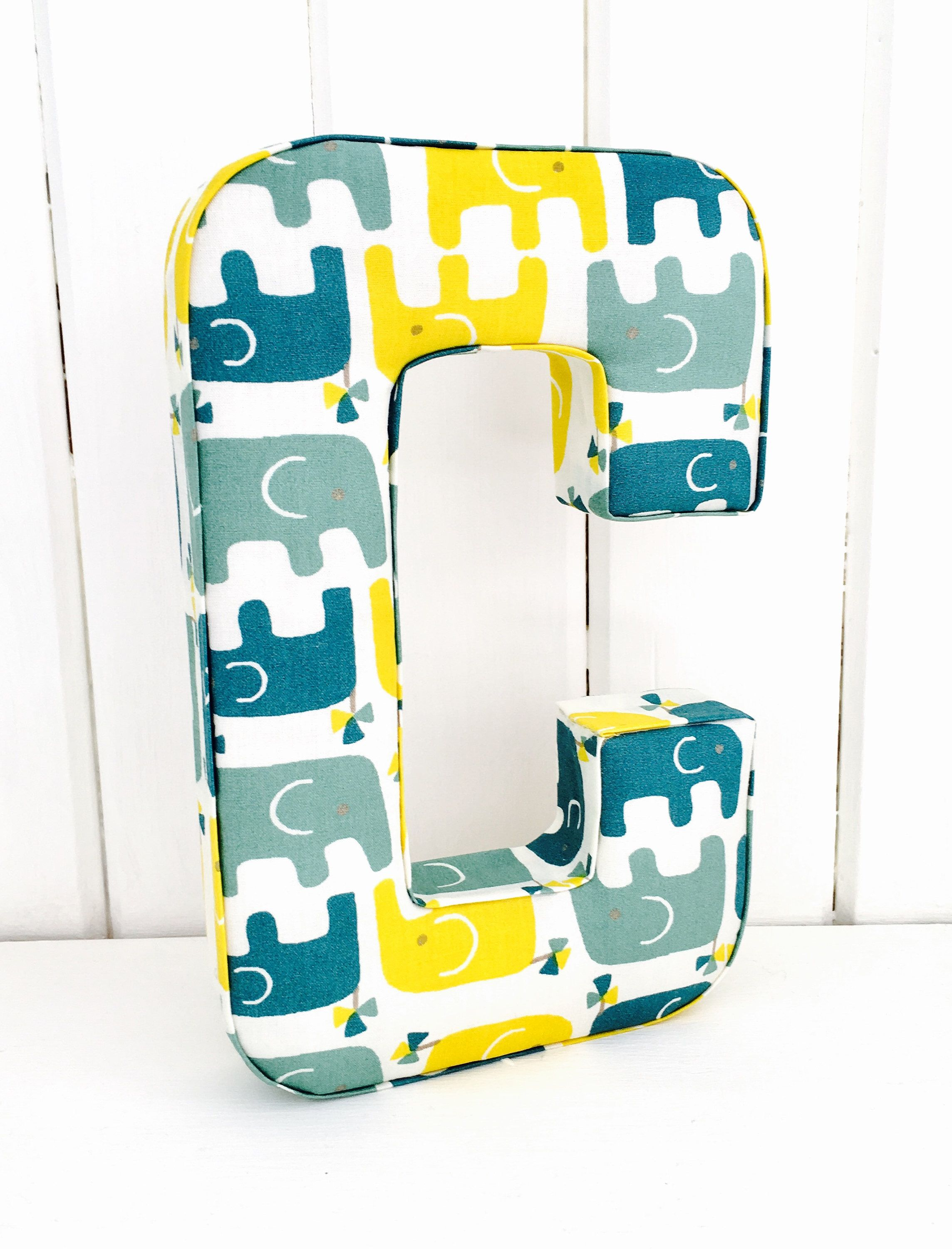 Blue Yellow Elephant Nursery Decoration Baby Boy Gift Boys Wall Hanging Personalised Christening Teal Decor