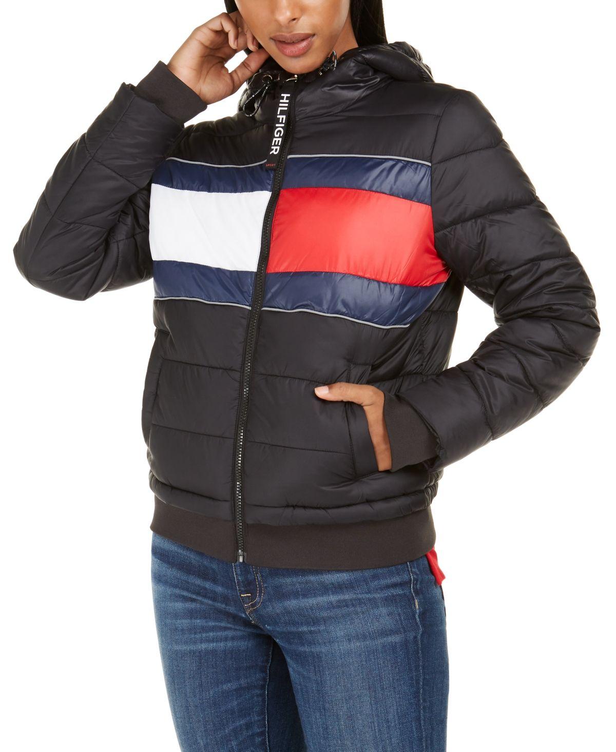 Tommy Hilfiger Sport Quilted Colorblocked Jacket Black Blazer Jackets For Women Tommy Hilfiger Tommy Hilfiger Jackets [ 1466 x 1200 Pixel ]