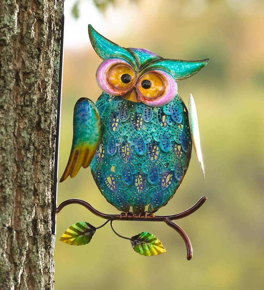 Metal owl on branch wall art decorative garden accents love this