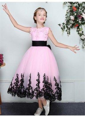 aed9e2fddf565 Jewel Sleeveless Appliques Tulle Flower Girl Dress | Girls Dress ...