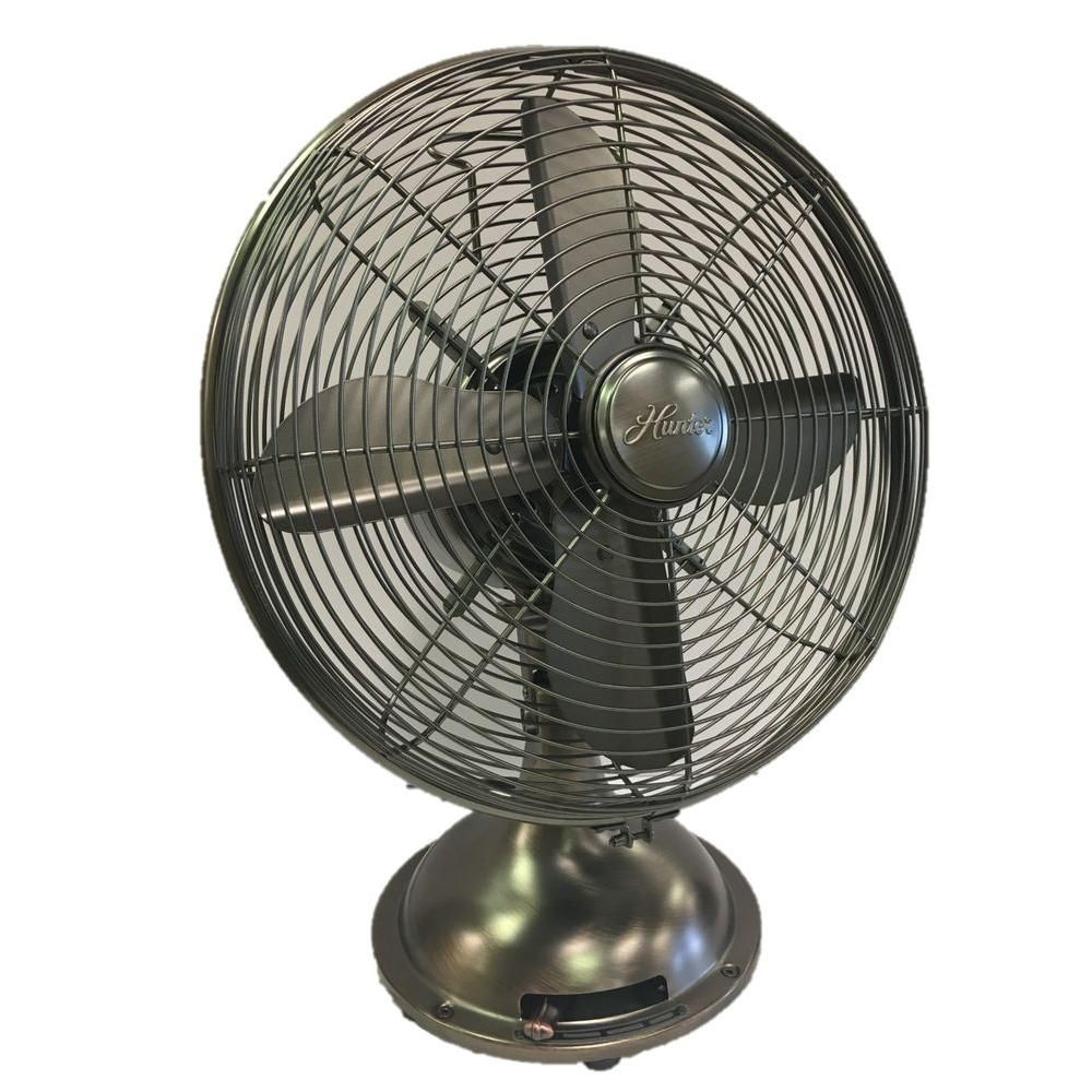 Hunter Retro 12 In. 3 Speed Oscillating Onyx Copper Personal Table Fan  90406 At The Home Depot   Mobile