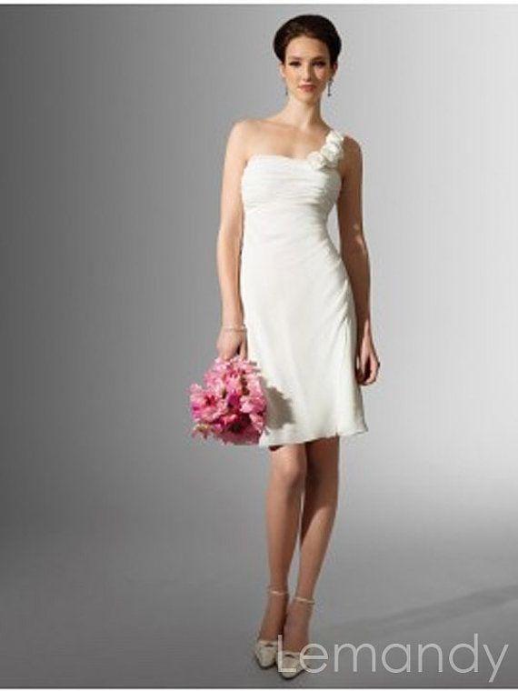 One Shoulder Sheath Short Chiffon Wedding Dress Beah Style 16500