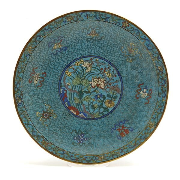 A Cloisonne Enamel Charger,  17 Century, Decorated to the interior with a central medallion with prunus, lotus and peony, encircled by the Eight Buddhist Emblems, bajixiang, on a bright turquoise ground, the everted rim with a band of lotus flowers on scrolling foliage #AsianWorksofArt