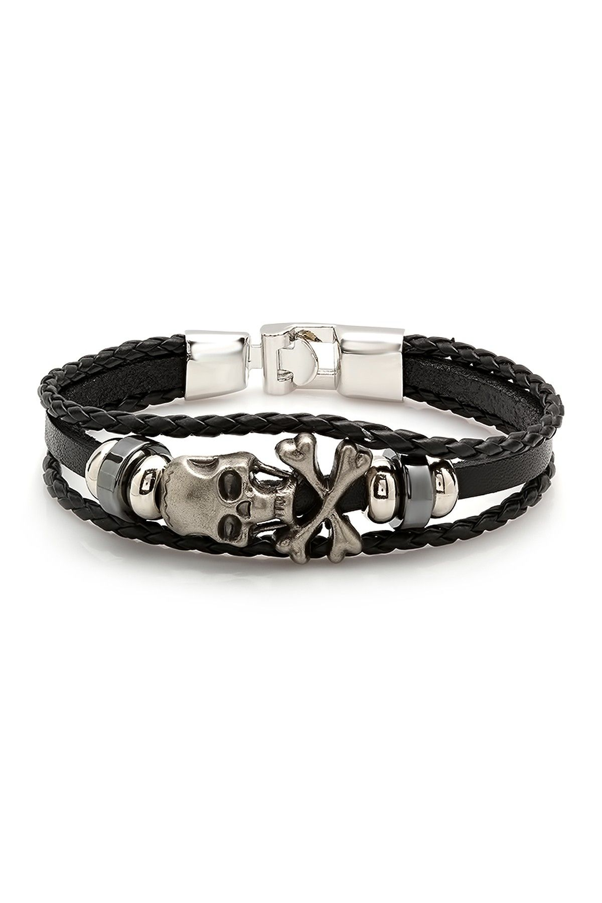 3378d01c719a Multi Strand Beaded Skull Leather Bracelet