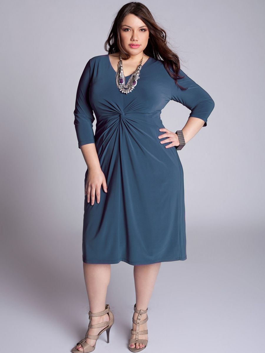 Scoop Neck Plus Size Half Sleeves Knee-Length Dark Navy Chiffon ...