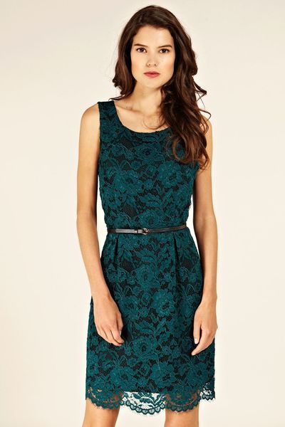 4cb1cc664911 Oasis Lace Lily Lantern Dress in Green - Lyst | Looks | Green lace ...