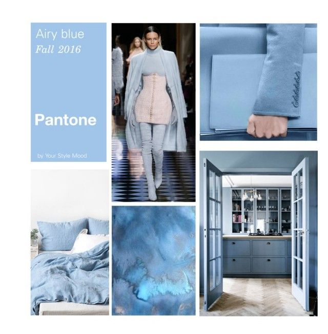 """""""Top Fall Pantone Airy Blue"""" by yourstylemood ❤ liked on Polyvore featuring Balmain and Anna October"""