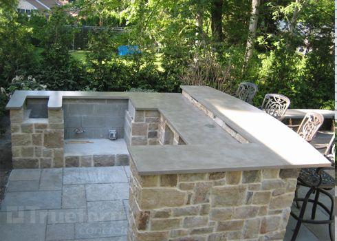 Outdoor Bar With Concrete Countertop Patio Outdoor Kitchen Countertops Outdoor Kitchen Design