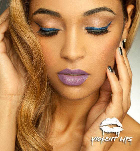 Violent Eyes - Sapphire Glitteratti - Cat Eyeliner Style **Love the lip color**