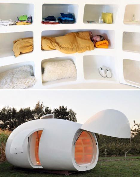 portable guest houselibrary or office round white egg interior