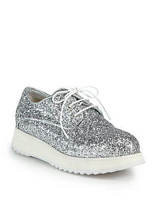 Glitter Lace-Up Platform Oxfords