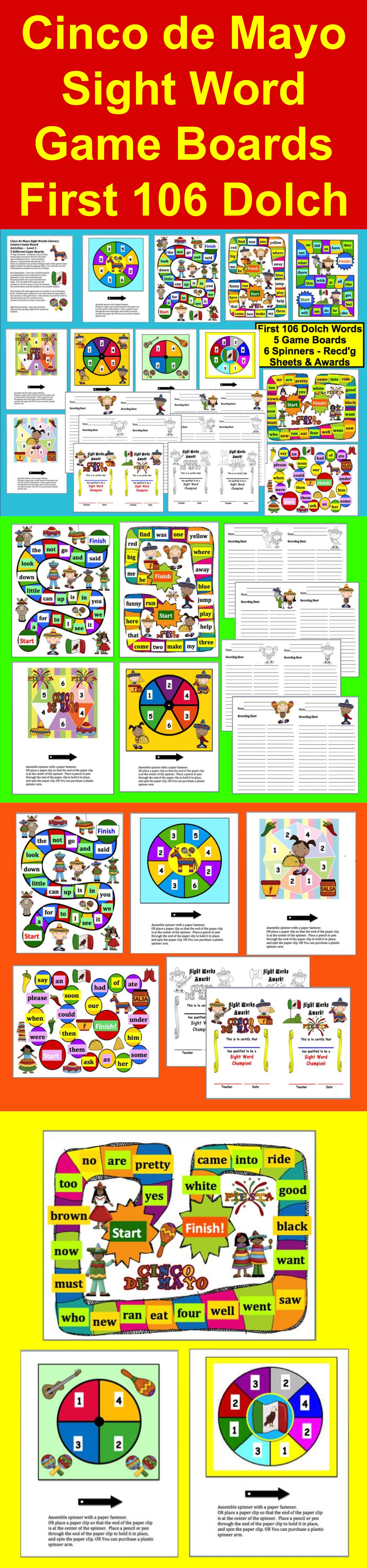 Cinco De Mayo Sight Words Literacy Centers Game Board