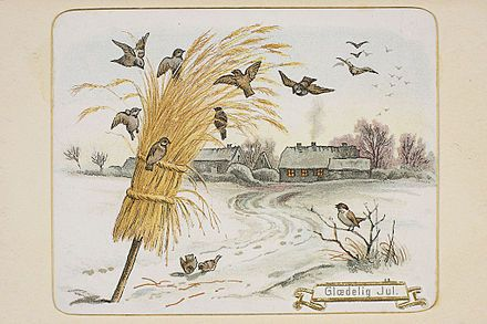 Gammelt norsk julekort med fugle- eller julenek av havre. Foto: Nasjonalbiblioteket