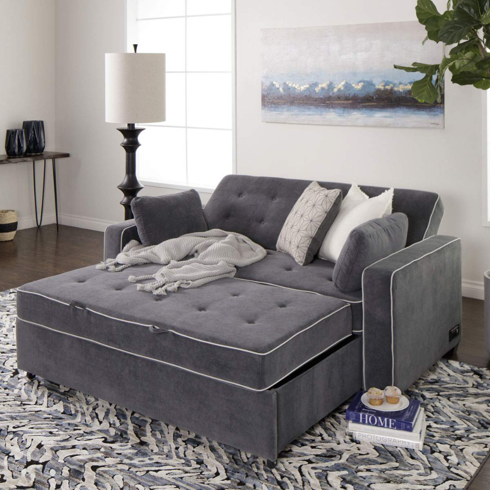 Carlton Grey Queen Pullout Sleeper Sofa With 2 Pillows In 2020 Queen Size Sleeper Sofa Pull Out Sleeper Sofa Furniture
