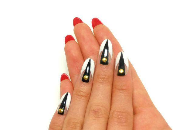 Designer Gel Nails Fake Nails Glue On Nails Press On By Eszakka