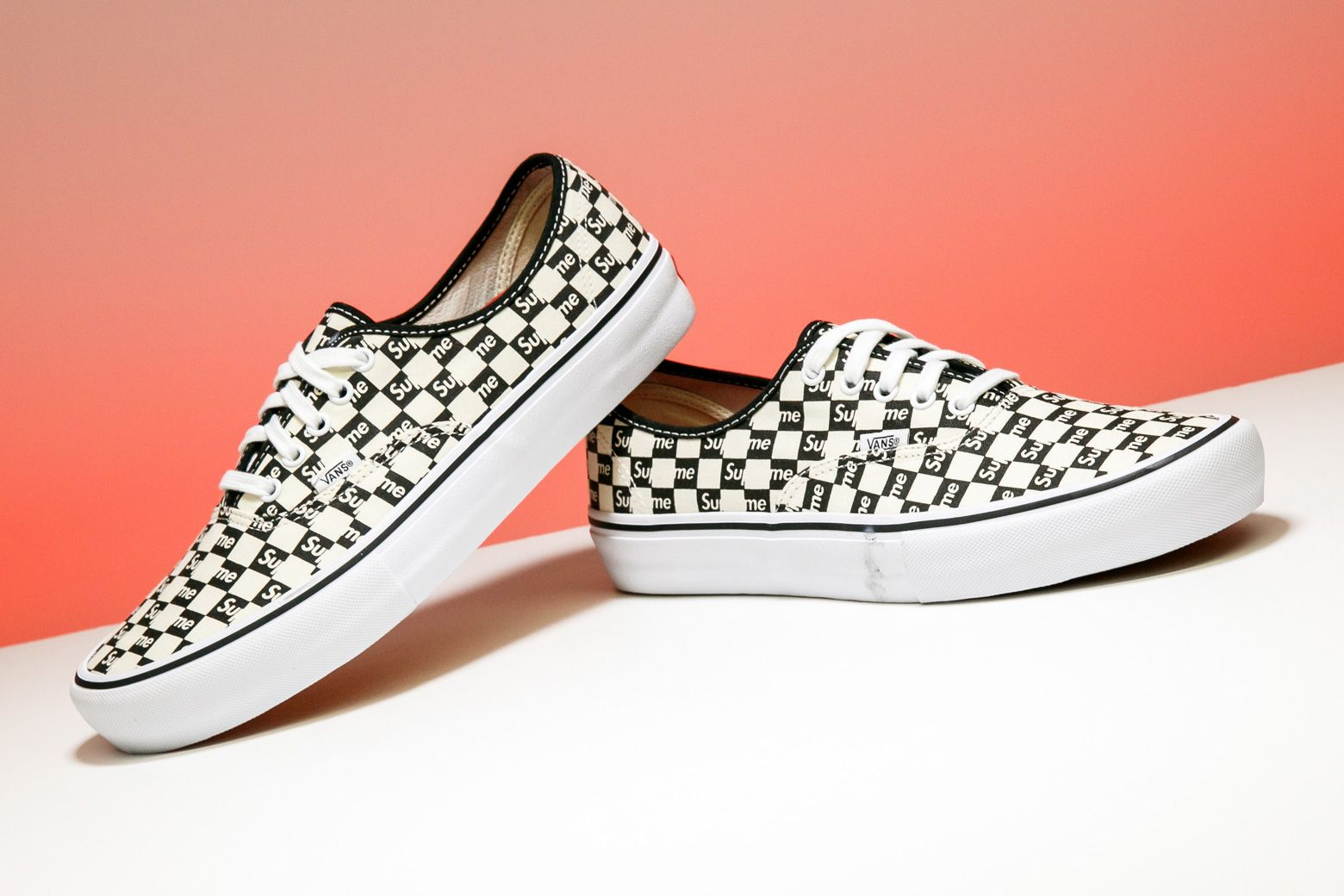 A Classic Canvas Upper And Checkered Design Stamp This Supreme X Vans Authentic Pro From 2016