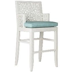 David Francis Mykonos White Wicker Barstool with Fabric Choice