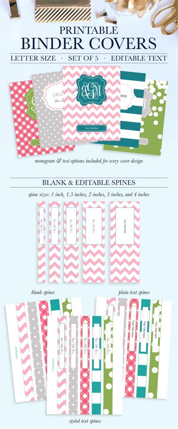 graphic about Printable Binder Inserts titled Preppy Binder Include and Spines, Monogram Binder Protect