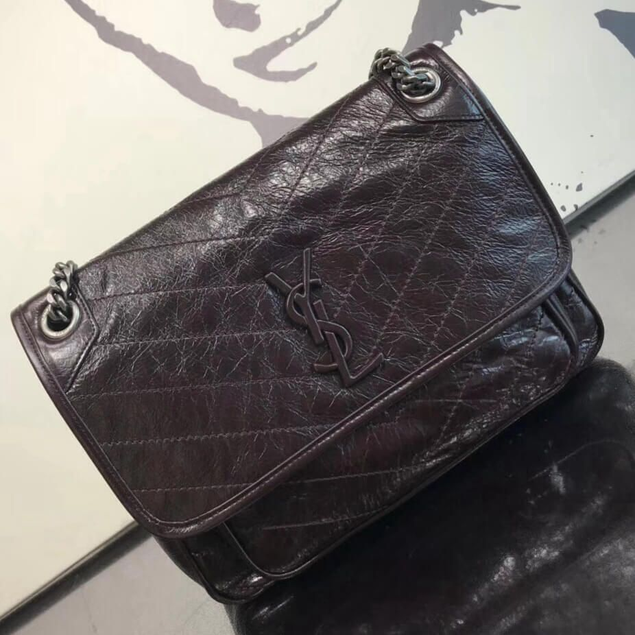 4a8e45c0ab Saint Laurent Medium Niki Chain Bag in Crinkled and Quilted Leather ...