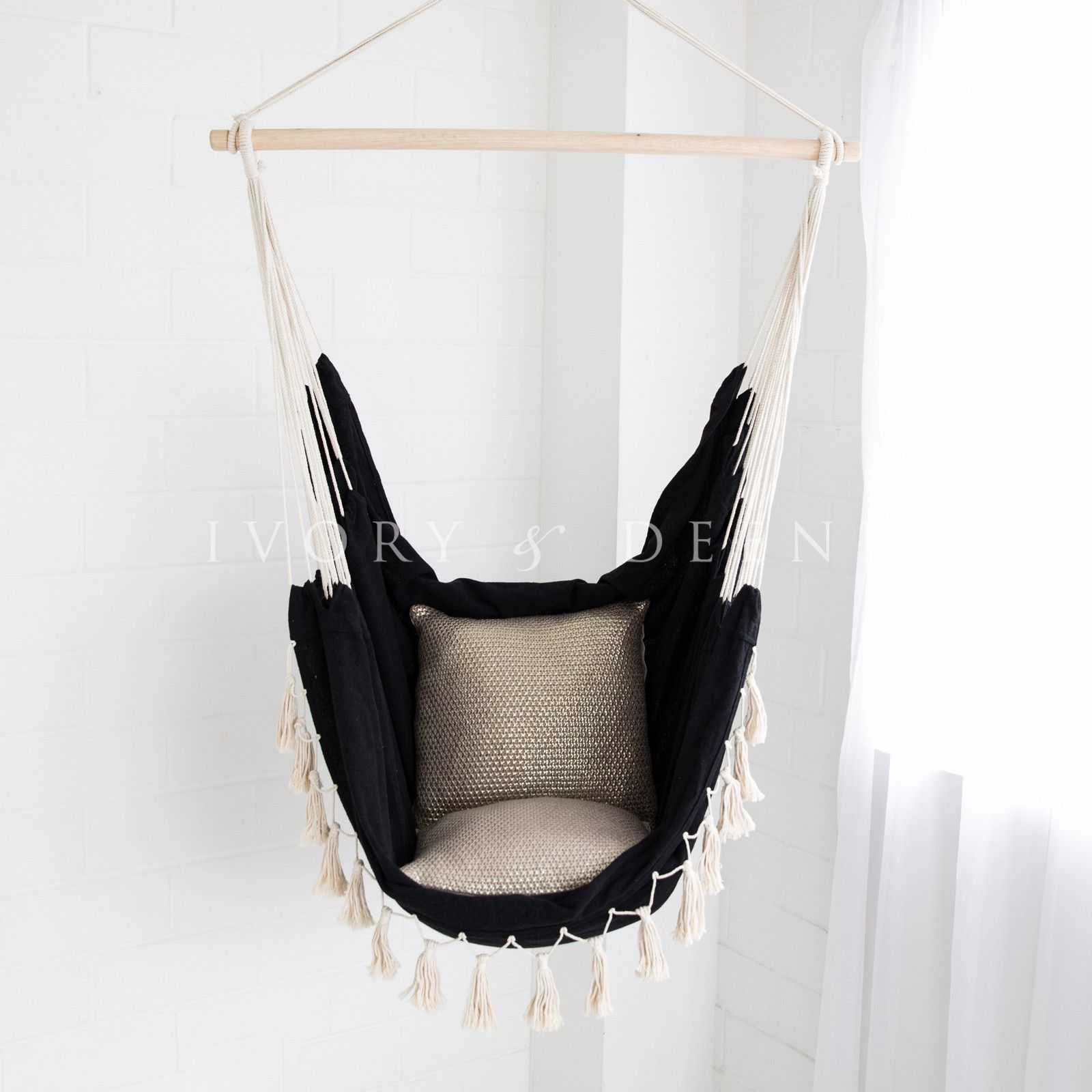 Soho hammock chair black woven cotton hammock chair and room ideas