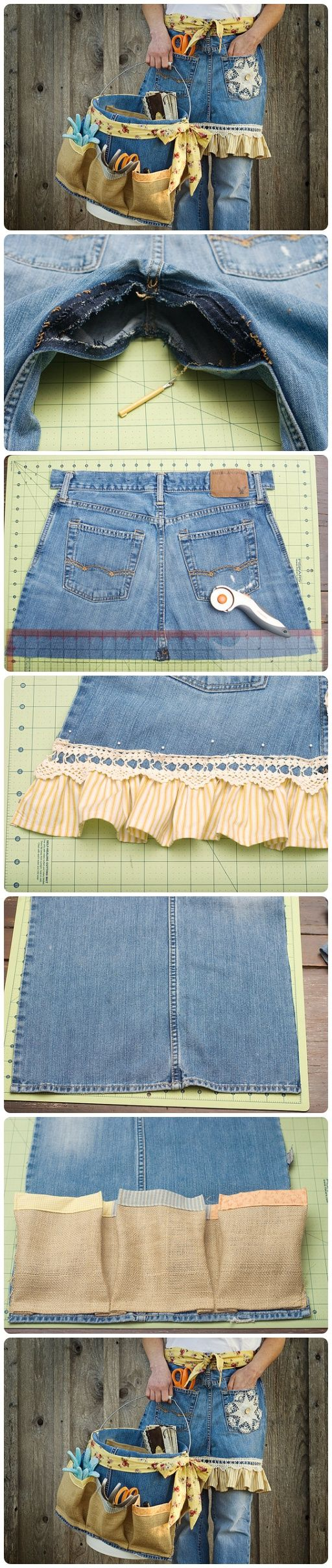 Diy denim apron and basket from old jeans apron sewing for Denim craft projects