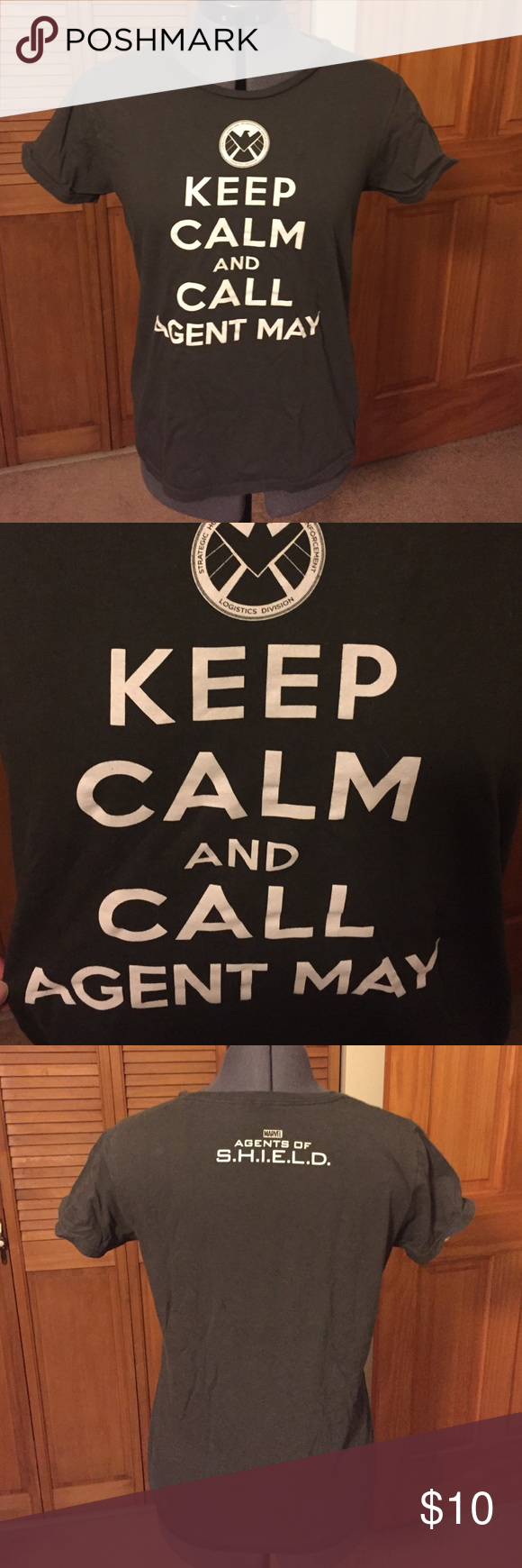 "Marvel Agent's of S.H.I.E.L.D. Agent May T-Shirt Gray t-shirt featuring logo for Marvel's Agents of S.H.I.E.L.D. logo with phrase ""keep calm and call Agent May"" immediately below it.  Back features the TV show's title card.  Shirt is from Marvel booth at New York Comic Con, only available at conventions.  Very good condition, no visible signs of wear. Marvel Tops Tees - Short Sleeve"