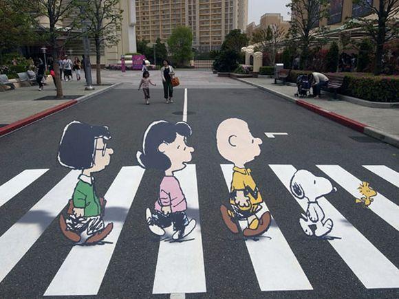 Abbey Road Homenagem De Games E Desenhos Streetart Abbey Road Burgersteig Kunst