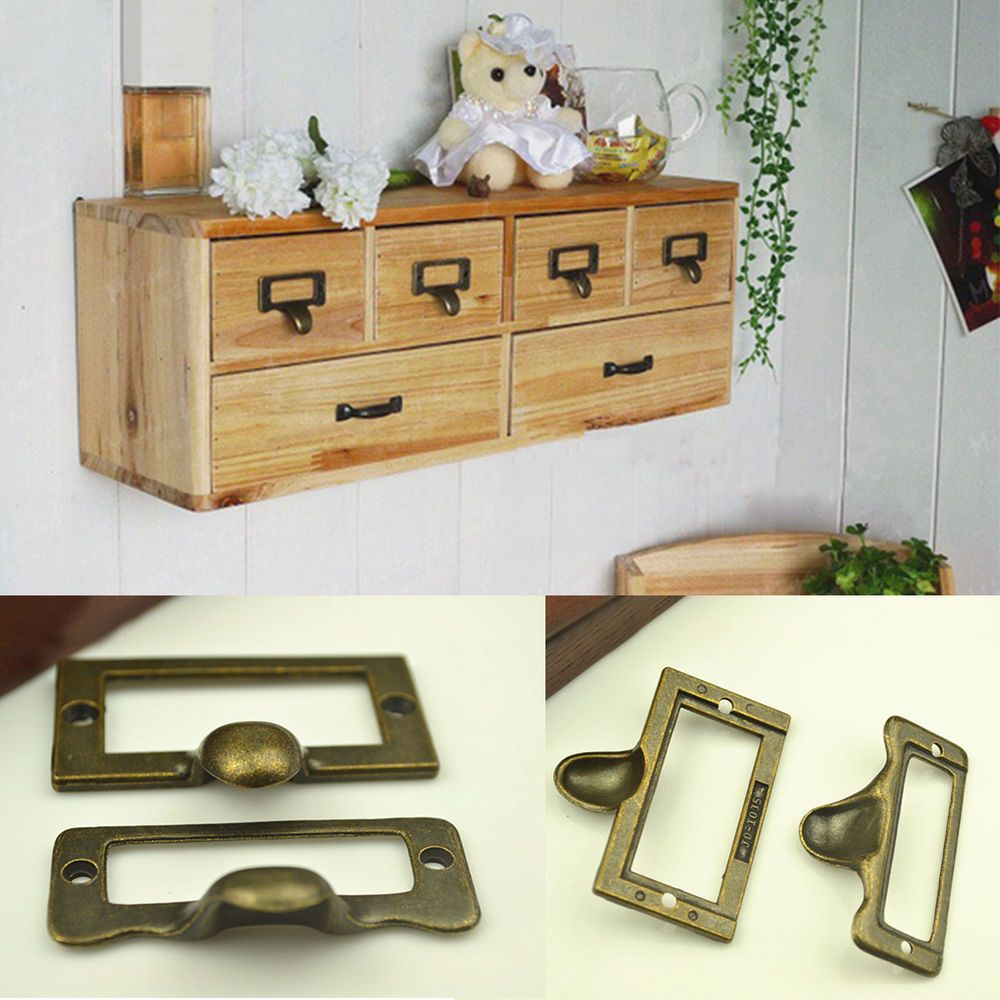 Hot 6pcs Vintage Wooden Box Drawer Cabinet Cupboard Handle Pull S L