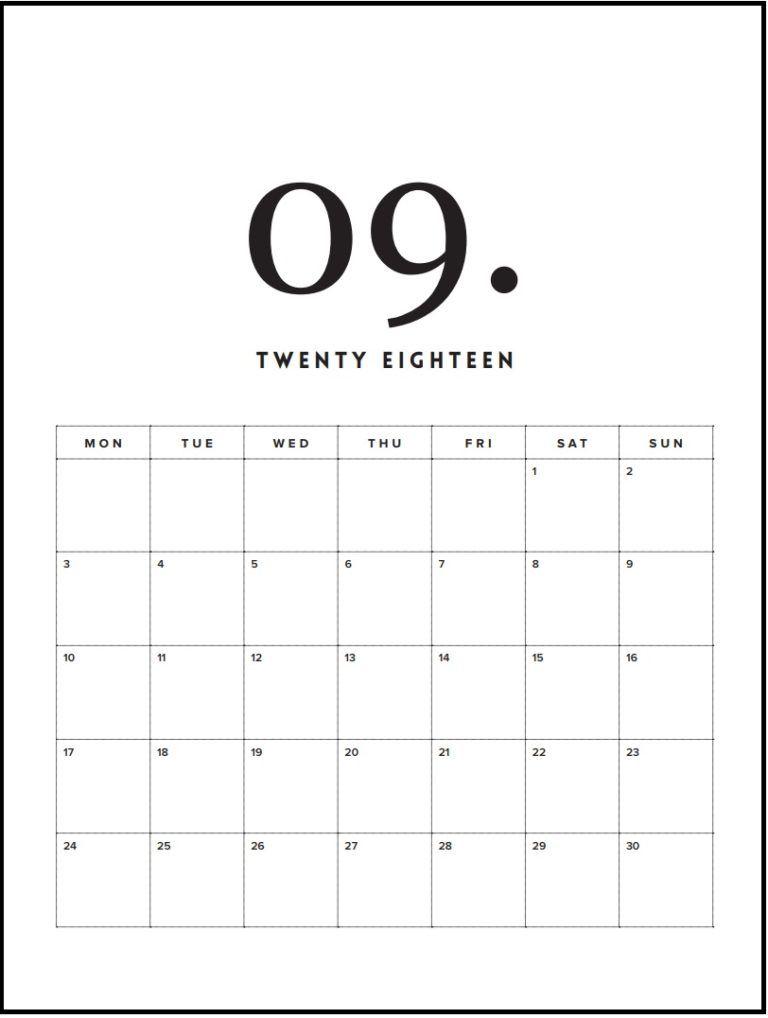 Free Printable September Minimal Calendar 2018 Art Calendar