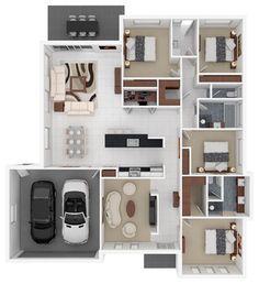 Grundriss haus modern 3d  3D floor plans modern floor plan | modern house | Pinterest