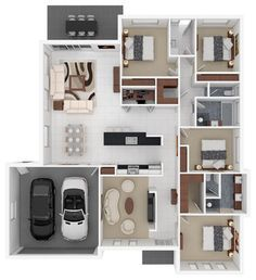 3D floor plans modern floor plan | modern house | Pinterest ...