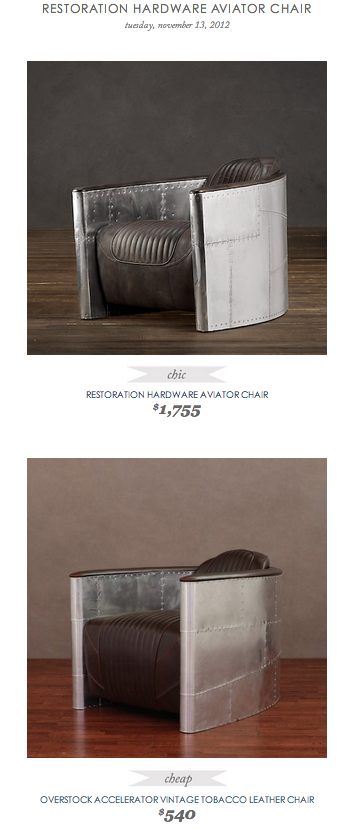 COPY CAT CHIC FIND: RESTORATION HARDWARE AVIATOR CHAIR VS OVERSTOCK  ACCELERATOR VINTAGE TOBACCO LEATHER CHAIR